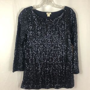 J Crew Black Sequined Top 3/4 Sleeves Small
